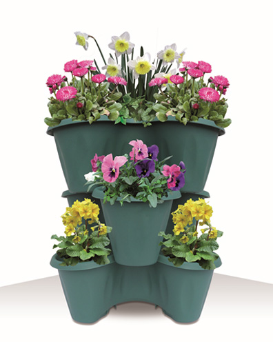 Trifoglio Green outdoor set of 3 stackable pots