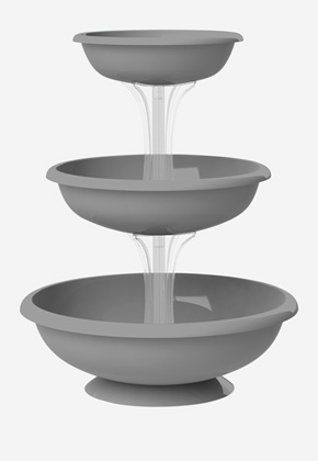 Fontana Grey outdoor set of 3 bowls in a fountain formation